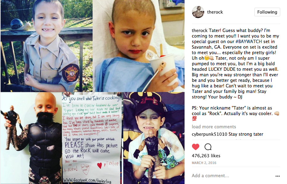 The Rock Arranges to Meet 7 yr Old Cancer Patient During